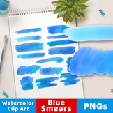 Blue Watercolor Clipart- Smears, Watercolor Clipart Blue S
