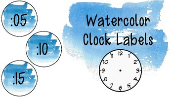 Blue Watercolor Clock Labels