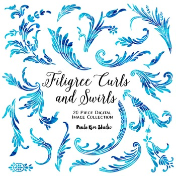 Blue Watercolor Filigree Clip Art