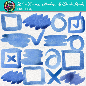 Blue Watercolor Frames, Strokes, & Check Marks Clip Art {Page Elements}