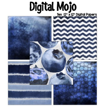 Blue Watercolor Grunge Digital Papers (Blueberries inspired)