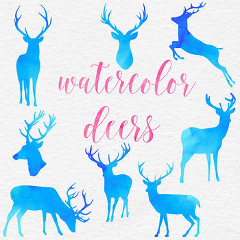 Blue Watercolor Reindeer Clipart