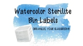 Blue Watercolor Sterilite Labels