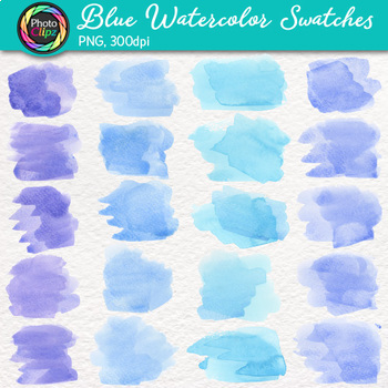 Blue Watercolor Swatches Clip Art {Hand-Painted Textures for Backgrounds}
