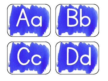 Blue Watercolor Word Wall Alphabet