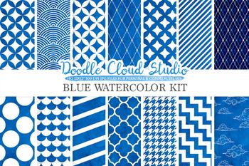 Blue Watercolor digital paper, Geometric Diamond Chevron Dots Polkadots