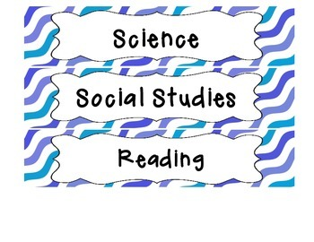 Blue Waves Drawer Labels - Student Work Organization!