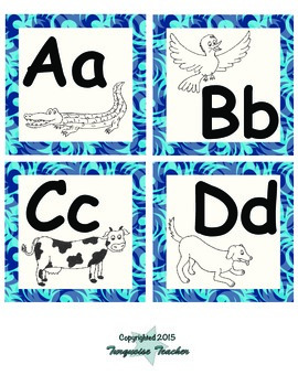 Blue Waves Word Wall Letters