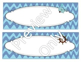 Blue Wavy Chevron Nautical Name Plates