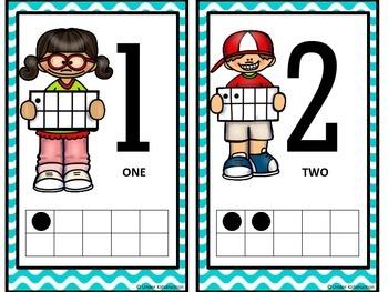 Ten Frame (0-10);Blue Wavy Border Cute Kids Ten Frame
