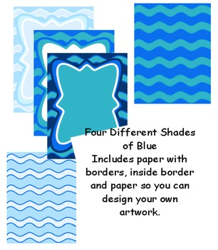 Borders: Blue Wavy Paper and Borders