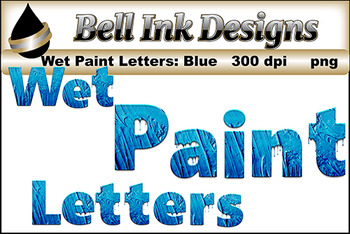 Blue Wet Paint Letters
