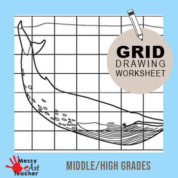 Blue Whale Grid Drawing Worksheet for Middle/High Grades