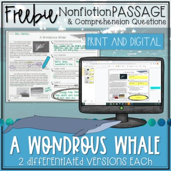 Blue Whale Nonfiction Reading Passage FREEBIE - Distance Learning