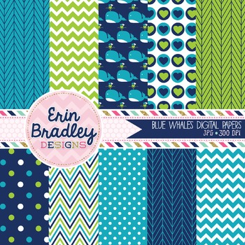 Blue Whales Digital Paper Pack