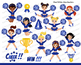 Blue & White Cheerleader Digital Clipart Set for -Personal and Commercial Use