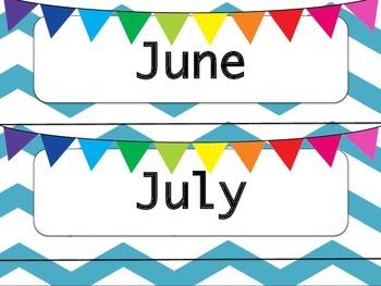 Blue & White Chevron Calendar Months