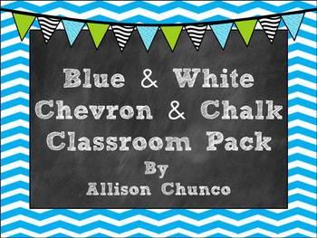 Blue & White Chevron & Chalk Classroom Pack