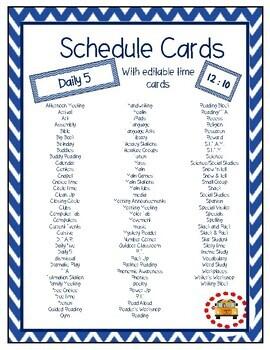 Blue & White Chevron Schedule Cards