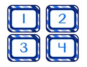 Blue & White Decor: Number Labels