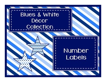 Blue & White Decor: Number Labels