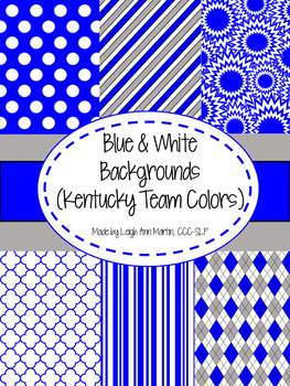 Blue & White Digital Papers (University of Kentucky Team Colors)