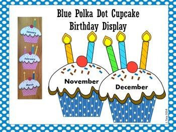 Blue & White Polka Dot Cupcake Birthday Display