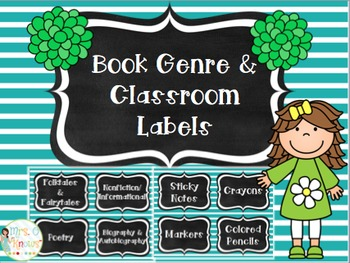 Blue & White Striped Classroom Organization Labels