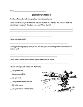 Blue Willow Worksheets
