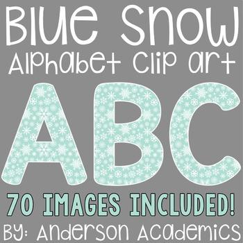 Blue Winter Snow Alphabet Clip Art
