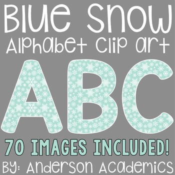 Blue Winter Snow Alphabet Clip Art