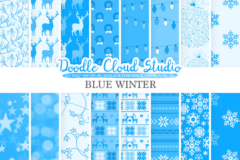 Blue Winter digital paper, Christmas Holiday patterns, Stars, Snow, Snowflakes