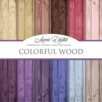 Blue Wood Background Textures Digital Paper scrapbook colorful wood grain