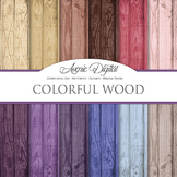 Blue Wood Background Textures Digital Paper scrapbook colorful wood grain