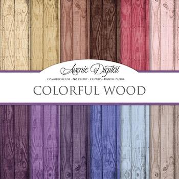 Blue Wood Background Textures Digital Paper scrapbook colo