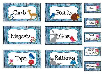 Blue Woodland Animal Tool Box Labels