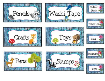 Blue Woodland Animal Tool Box Labels