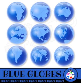 Blue Word Globes Clip Art