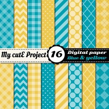 "Blue & Yellow DIGITAL PAPER - Scrapbooking- A4 & 12x12"" - Stripes..."