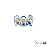 Blue & Yellow Graduation Gift Tags and Toppers for the Class of 2019