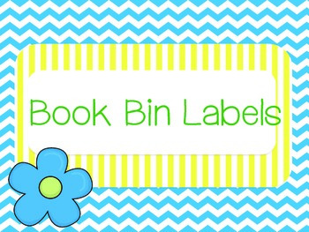 Blue, Yellow, and Green Chevron and Flower Book Bin Labels