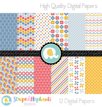 Blue, Yellow and Red Digital Papers