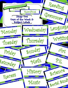 Blue Zingy Dot Days of Week and Subject Classroom Display