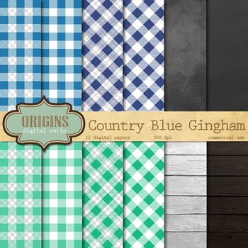 Blue and Aqua Gingham Digital Paper Backgrounds