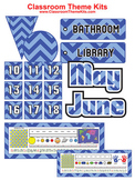 Blue and Baby Blue Chevron Zig Zag Classroom Theme Kit