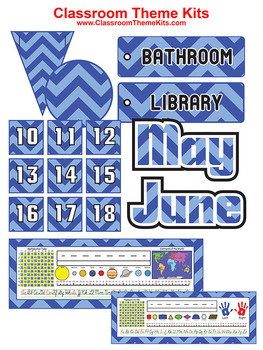 Blue and Baby Blue Chevron Zig Zag Classroom Theme Kit