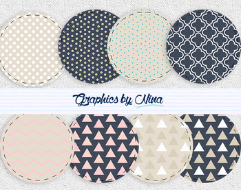 Blue and Beige Circles Clipart