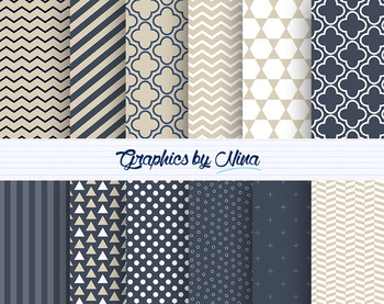 Blue and Beige Digital Papers