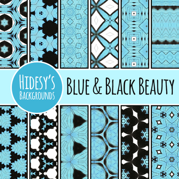 Blue and Black Butterfly Dreams - Backgrounds / Digital Papers Clip Art