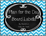 Blue and Black Chevron Chalkboard Schedule Cards
